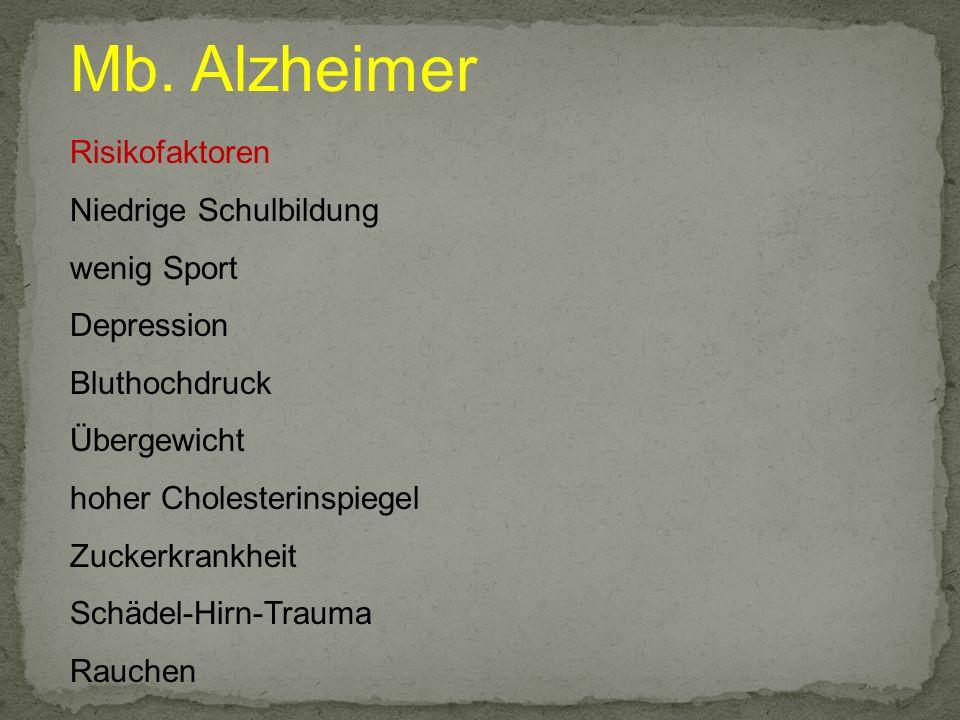 Mb. Alzheimer Risikofaktoren Niedrige Schulbildung wenig Sport