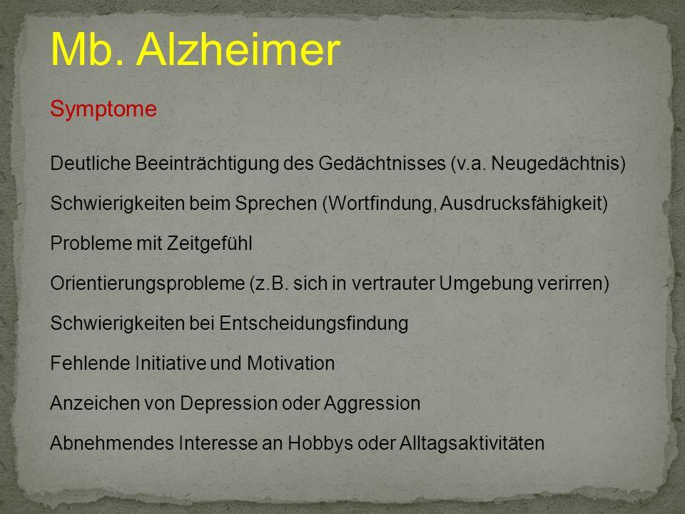 Mb. Alzheimer Symptome. Deutliche Beeinträchtigung des Gedächtnisses (v.a. Neugedächtnis)