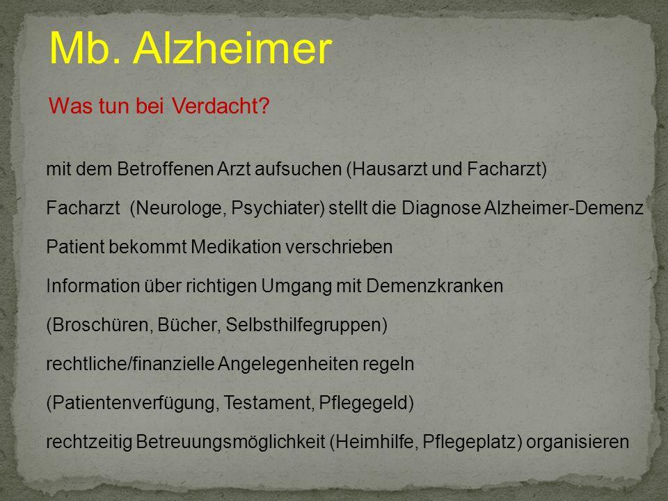 Mb. Alzheimer Was tun bei Verdacht