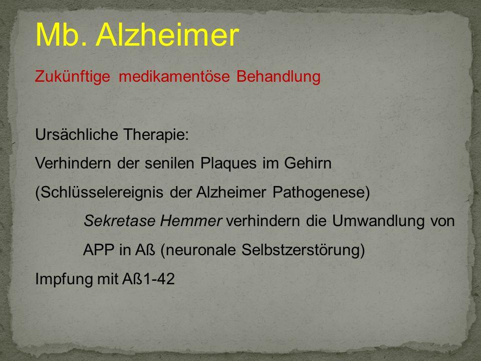 Mb. Alzheimer Zukünftige medikamentöse Behandlung