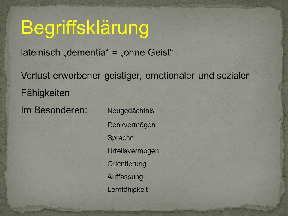 """Begriffsklärung lateinisch """"dementia = """"ohne Geist"""