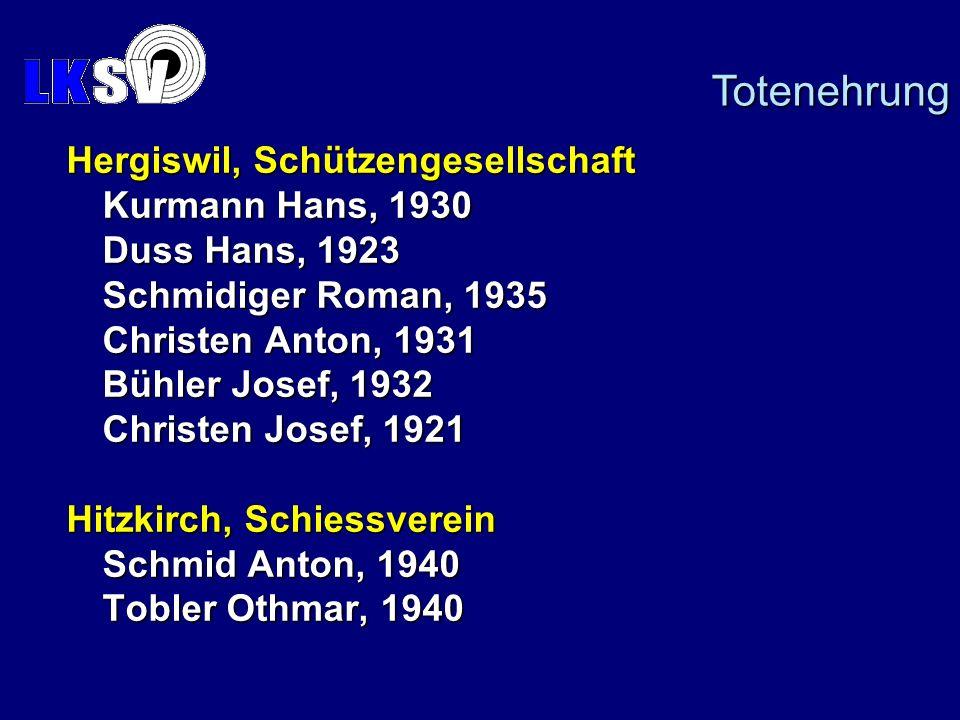 Totenehrung Hergiswil, Schützengesellschaft Kurmann Hans, 1930