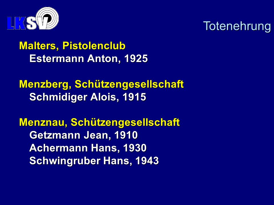 Totenehrung Malters, Pistolenclub Estermann Anton, 1925
