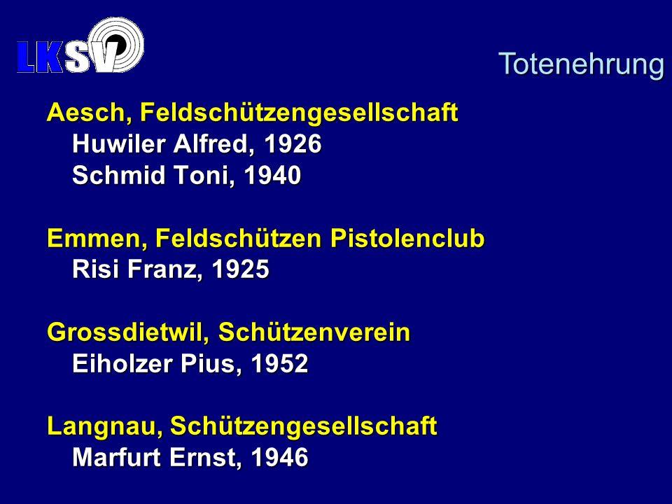 Totenehrung Aesch, Feldschützengesellschaft Huwiler Alfred, 1926