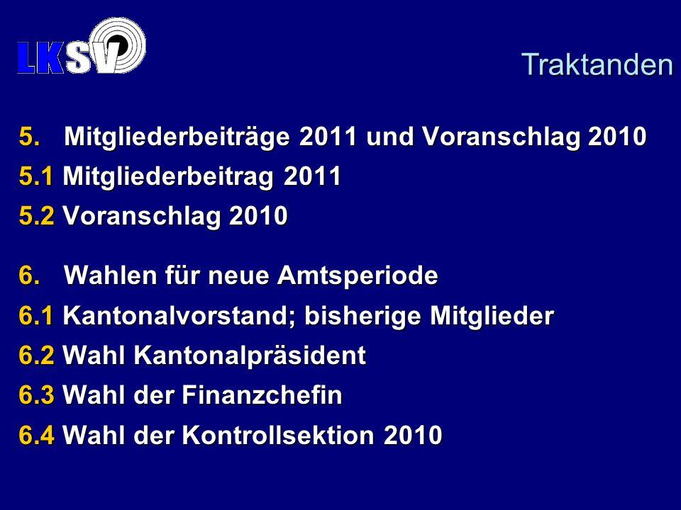 Traktanden Mitgliederbeiträge 2011 und Voranschlag 2010