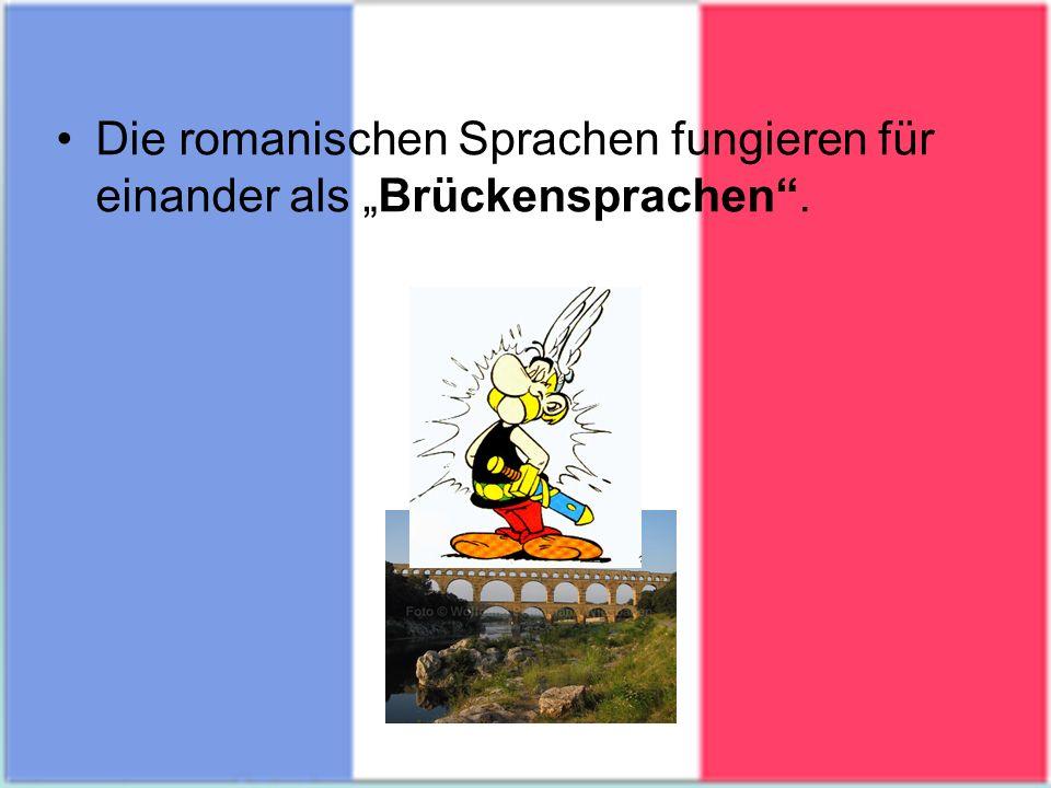 """Die romanischen Sprachen fungieren für einander als """"Brückensprachen ."""