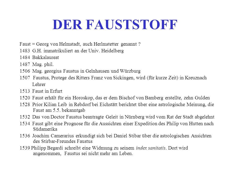 DER FAUSTSTOFF Faust = Georg von Helmstadt, auch Herlmstetter genannt 1483 G.H. immatrikuliert an der Univ. Heidelberg.