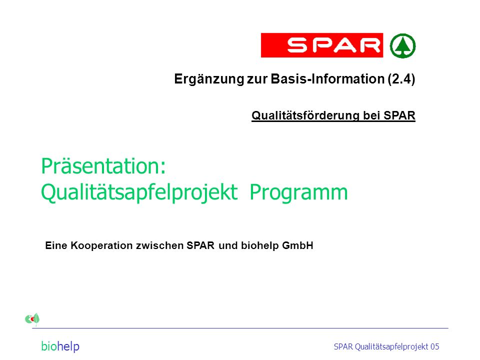 Präsentation: Qualitätsapfelprojekt Programm