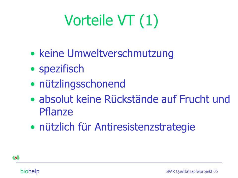 Vorteile VT (1) keine Umweltverschmutzung spezifisch nützlingsschonend