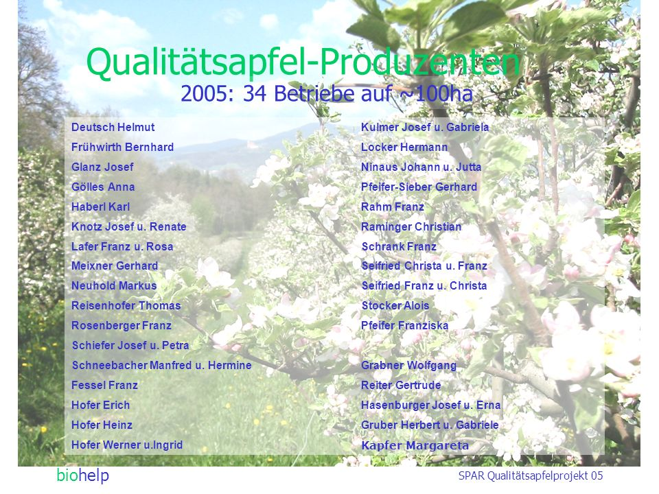 Qualitätsapfel-Produzenten