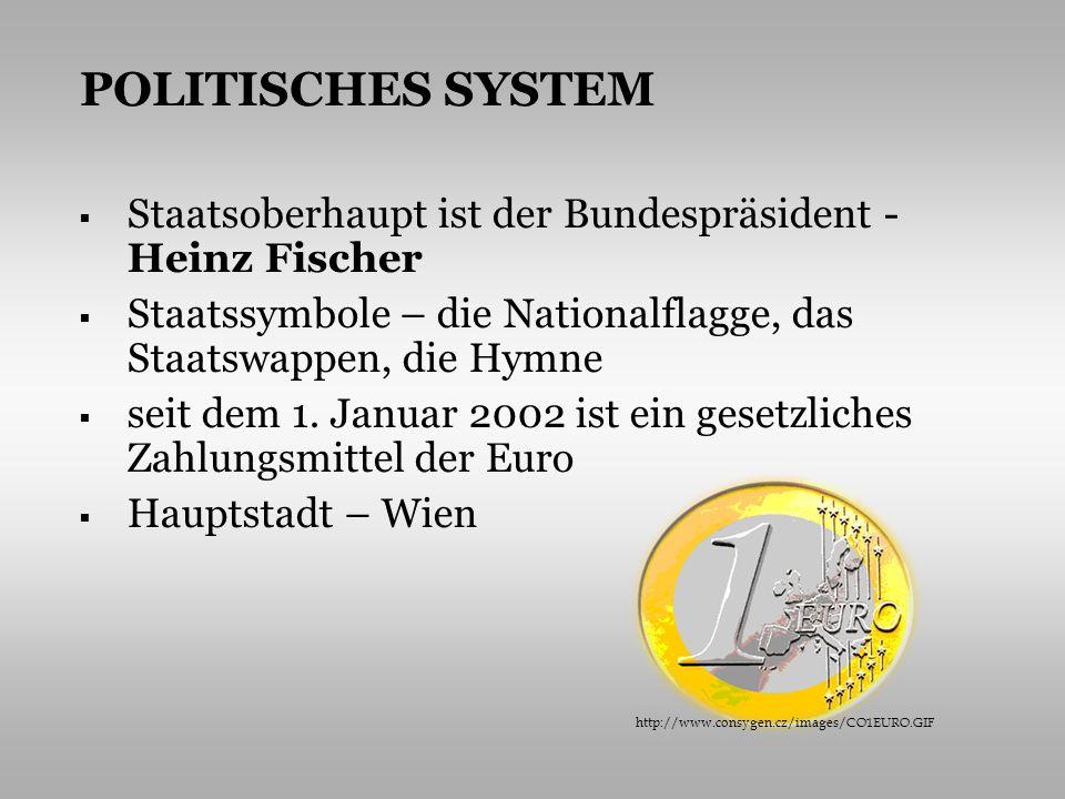 POLITISCHES SYSTEM Staatsoberhaupt ist der Bundespräsident - Heinz Fischer. Staatssymbole – die Nationalflagge, das Staatswappen, die Hymne.