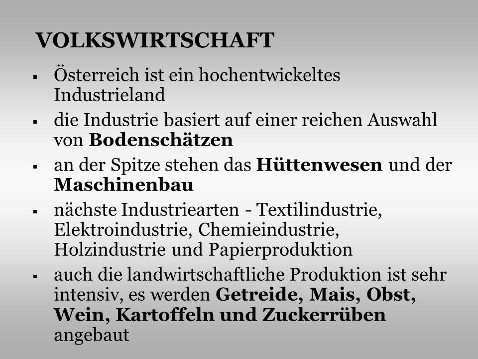 VOLKSWIRTSCHAFT Österreich ist ein hochentwickeltes Industrieland