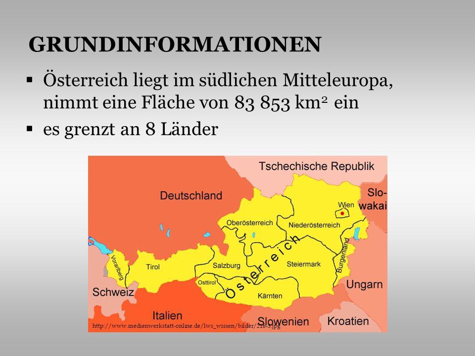 GRUNDINFORMATIONEN Österreich liegt im südlichen Mitteleuropa, nimmt eine Fläche von 83 853 km2 ein.