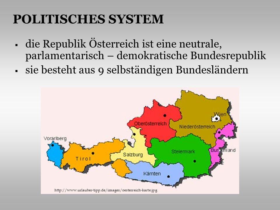 POLITISCHES SYSTEM die Republik Österreich ist eine neutrale, parlamentarisch – demokratische Bundesrepublik.