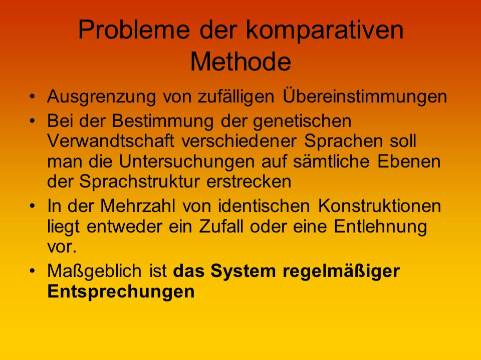 Probleme der komparativen Methode