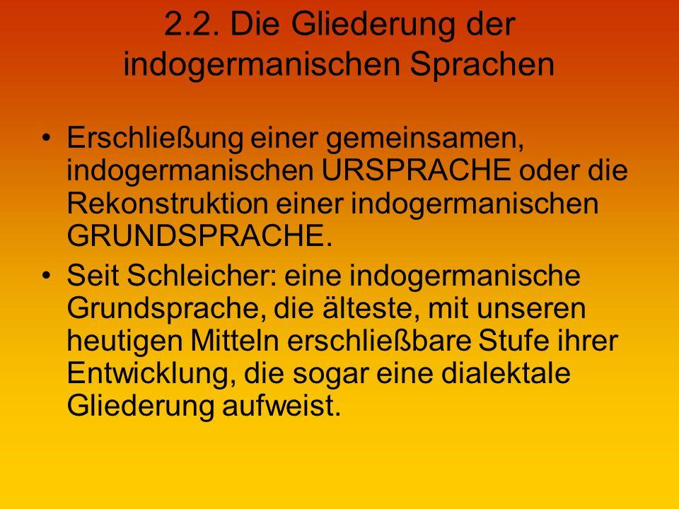 2.2. Die Gliederung der indogermanischen Sprachen