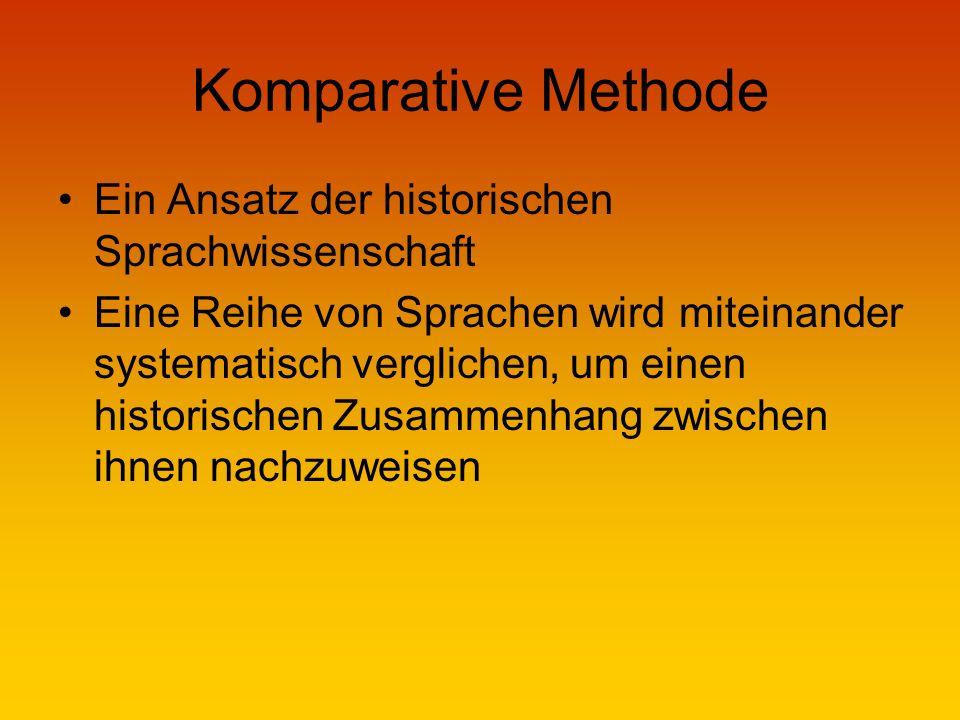 Komparative Methode Ein Ansatz der historischen Sprachwissenschaft