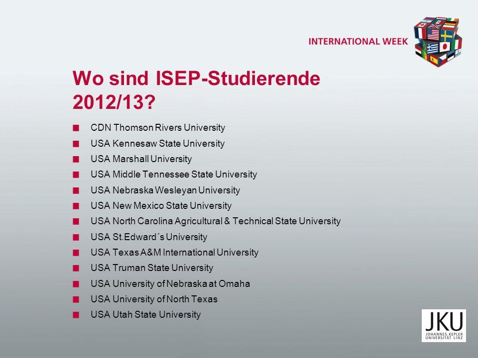 Wo sind ISEP-Studierende 2012/13