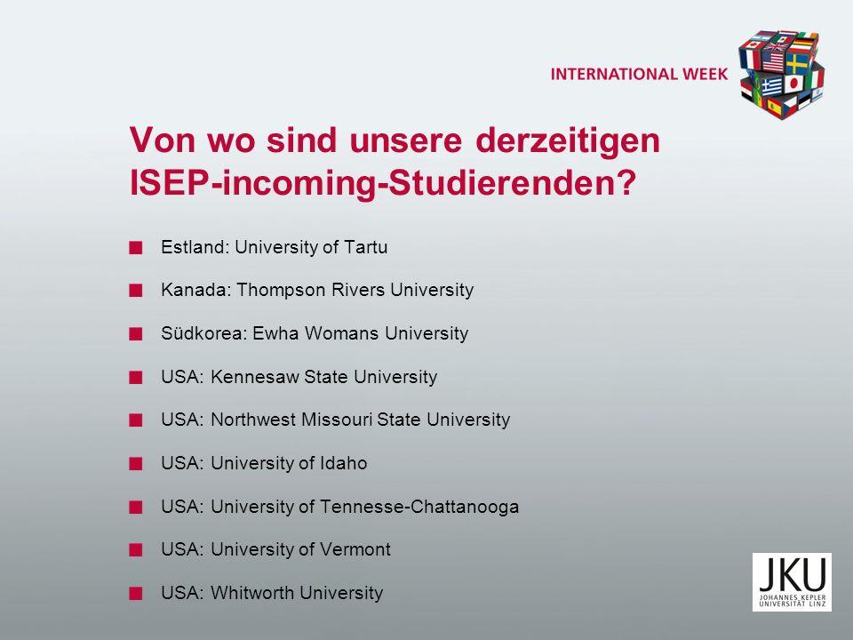 Von wo sind unsere derzeitigen ISEP-incoming-Studierenden