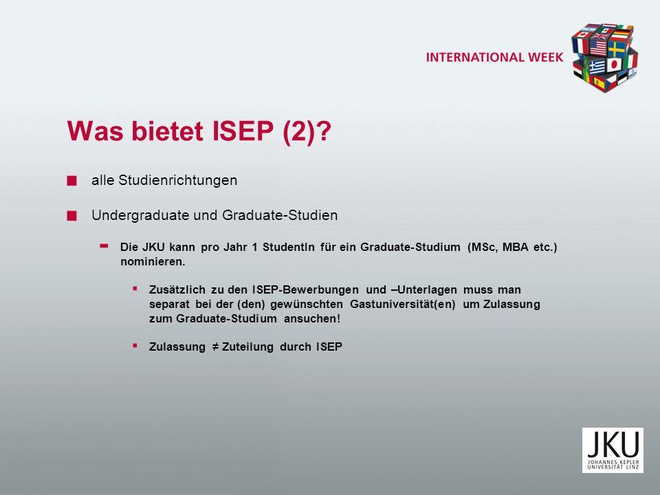 Was bietet ISEP (2) alle Studienrichtungen