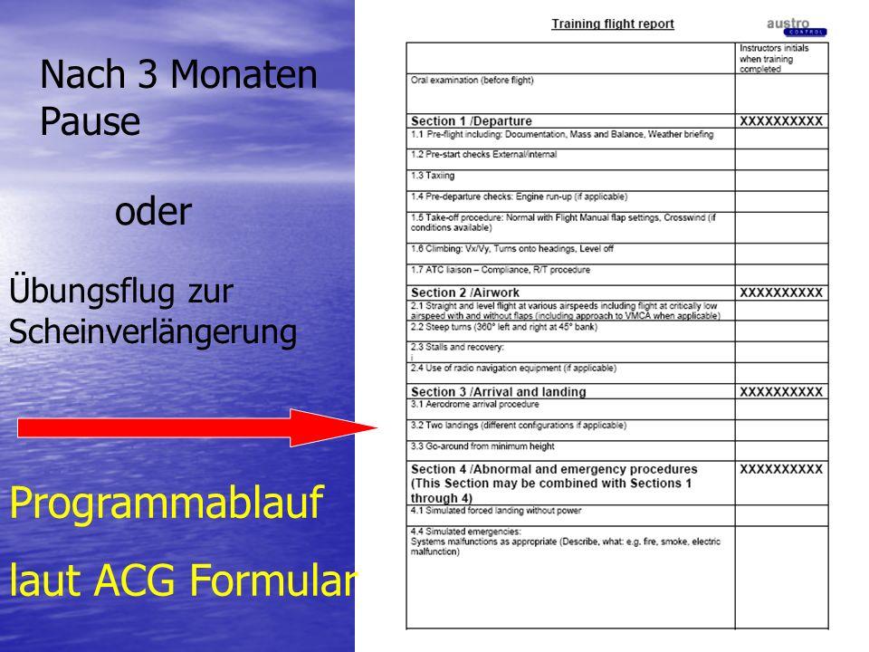 Programmablauf laut ACG Formular Nach 3 Monaten Pause oder
