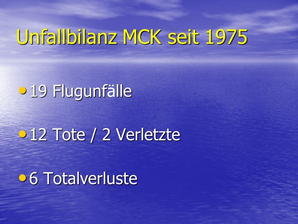Unfallbilanz MCK seit 1975 19 Flugunfälle 12 Tote / 2 Verletzte