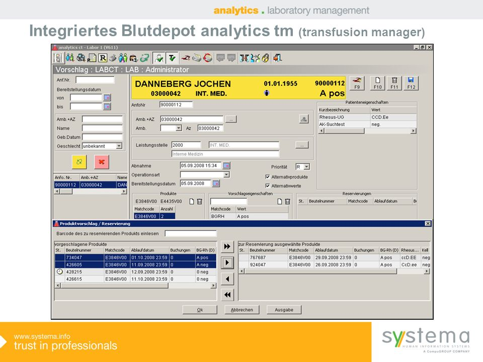 Integriertes Blutdepot analytics tm (transfusion manager)