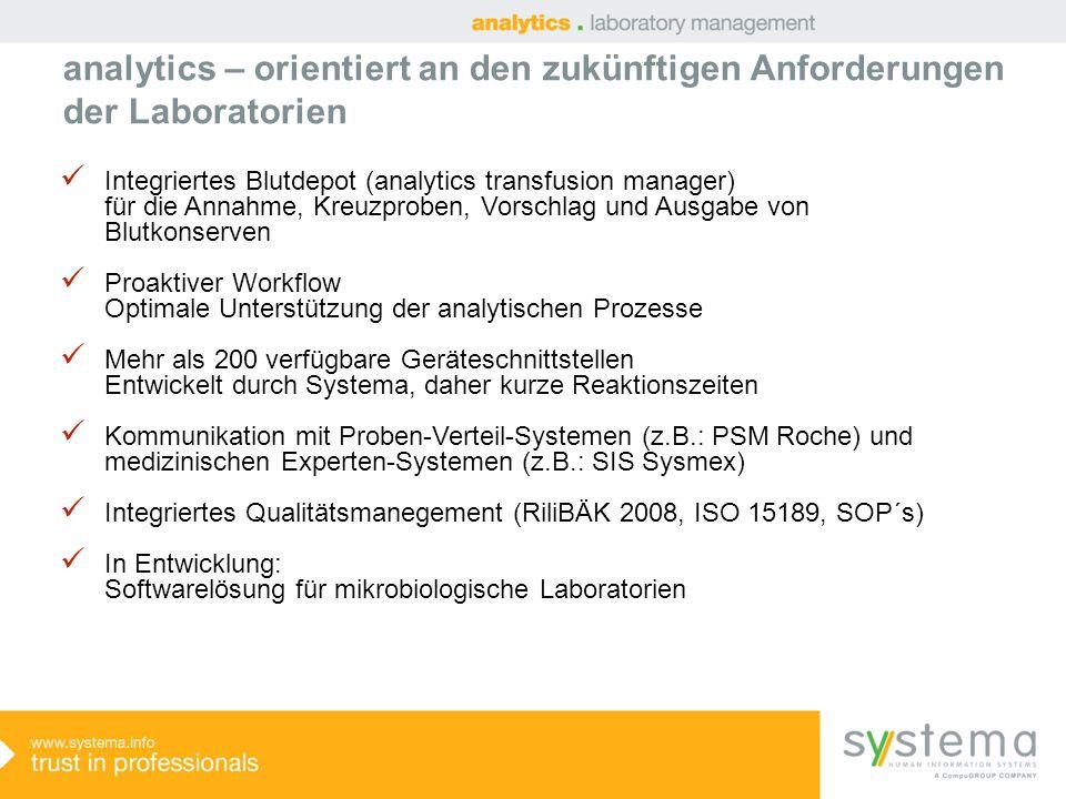 analytics – orientiert an den zukünftigen Anforderungen der Laboratorien