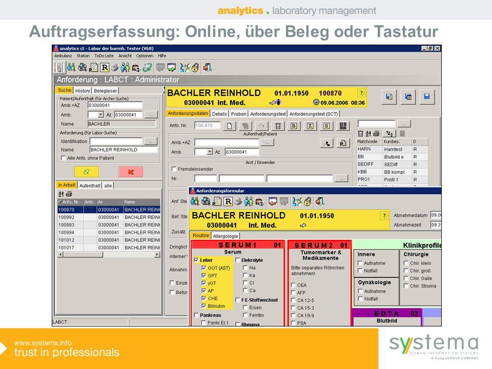 Auftragserfassung: Online, über Beleg oder Tastatur