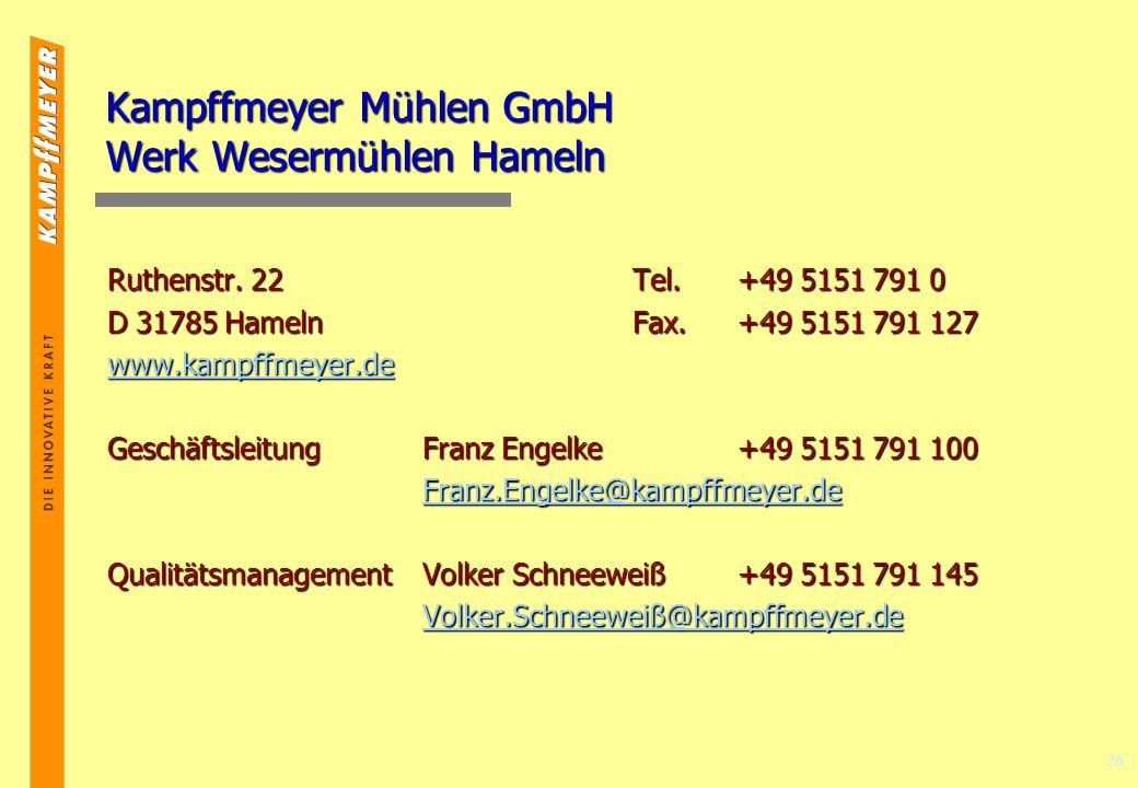 Kampffmeyer Mühlen GmbH Werk Wesermühlen Hameln