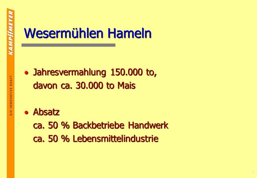 Wesermühlen Hameln Jahresvermahlung 150.000 to,