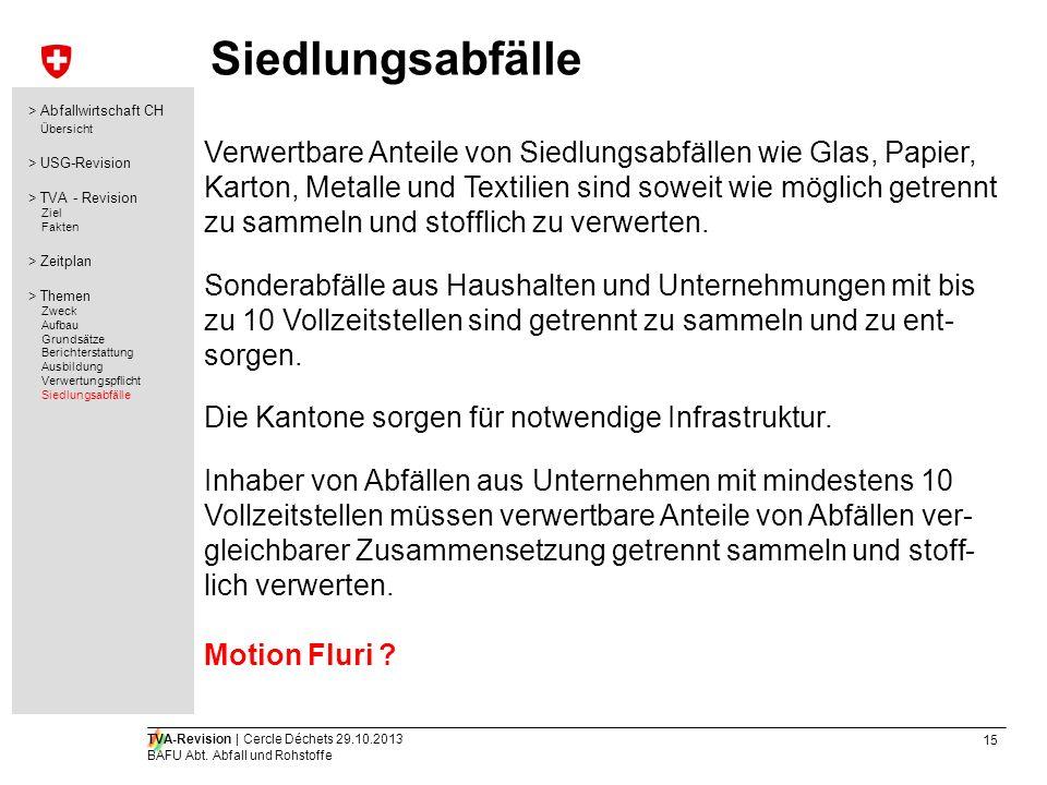 Siedlungsabfälle > Abfallwirtschaft CH. Übersicht. > USG-Revision. > TVA - Revision. Ziel. Fakten.