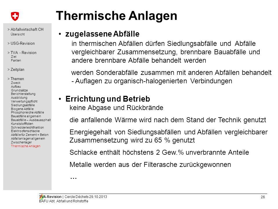 Thermische Anlagen zugelassene Abfälle