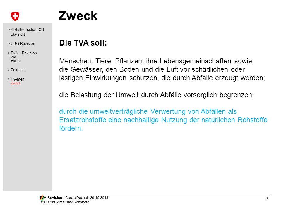 Zweck > Abfallwirtschaft CH. Übersicht. > USG-Revision. > TVA - Revision. Ziel. Fakten. > Zeitplan.