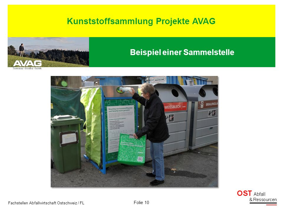 Kunststoffsammlung Projekte AVAG Beispiel einer Sammelstelle