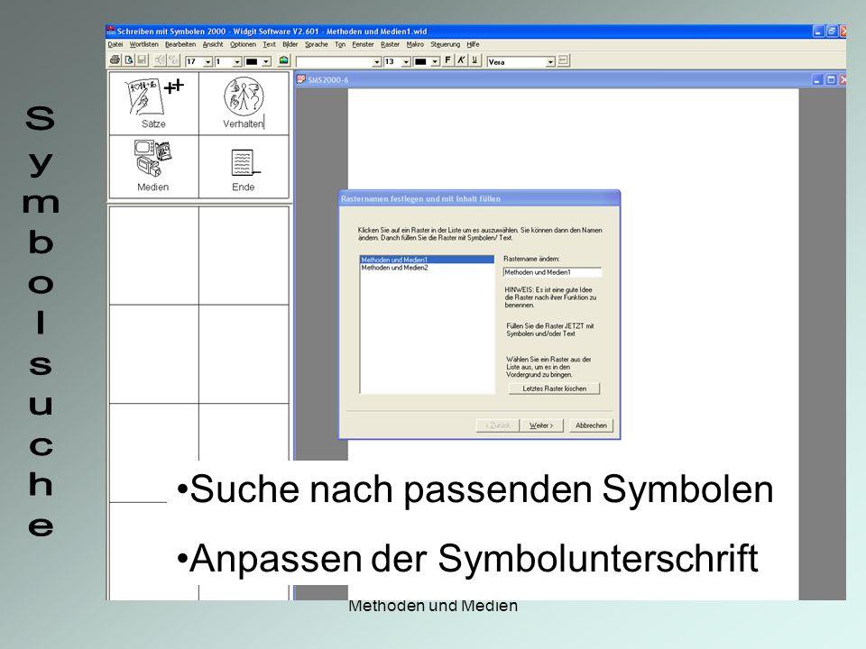 Suche nach passenden Symbolen Anpassen der Symbolunterschrift