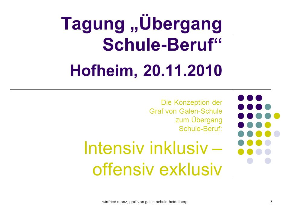 """Tagung """"Übergang Schule-Beruf Hofheim, 20.11.2010"""