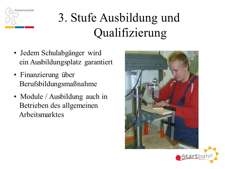 3. Stufe Ausbildung und Qualifizierung Jedem Schulabgänger wird