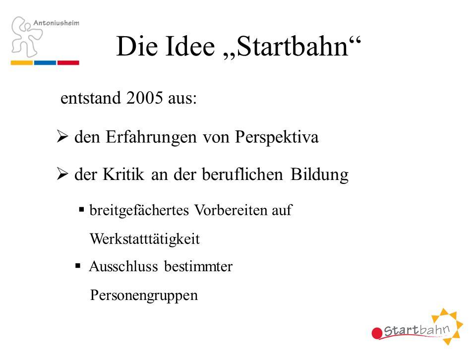"""Die Idee """"Startbahn entstand 2005 aus:"""