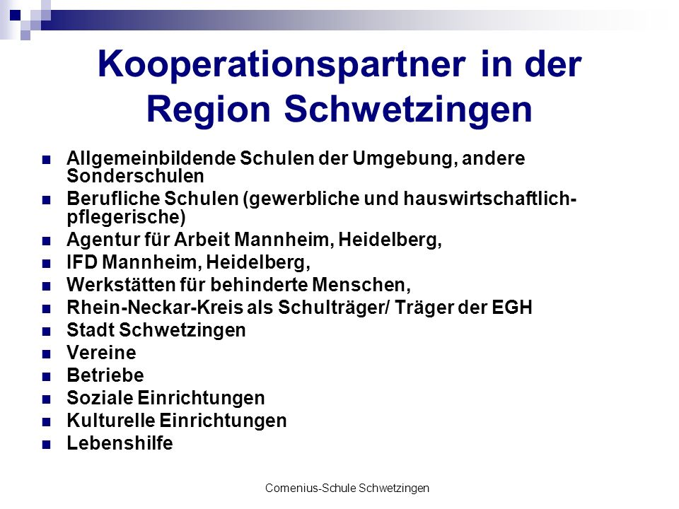 Kooperationspartner in der Region Schwetzingen