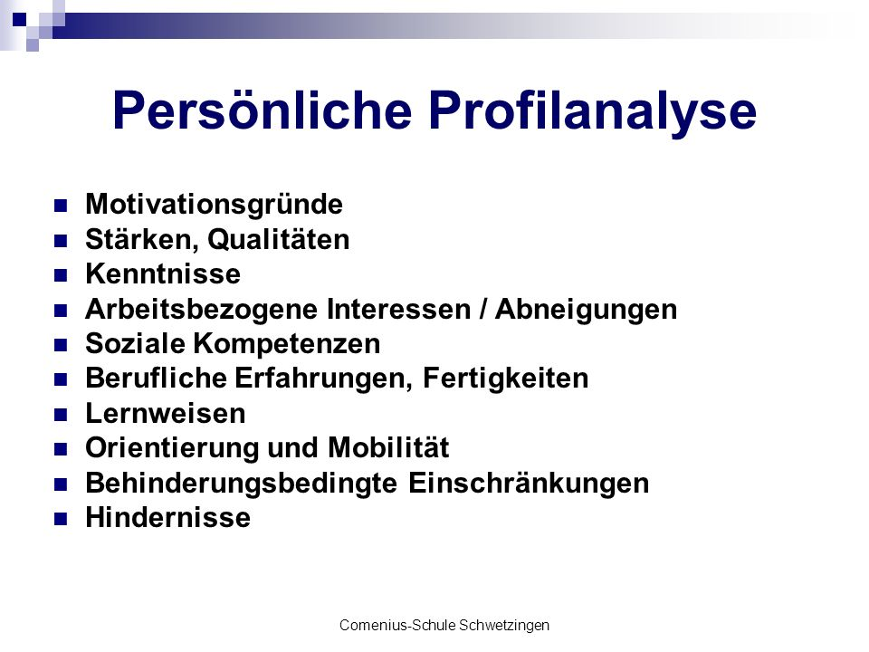 Persönliche Profilanalyse