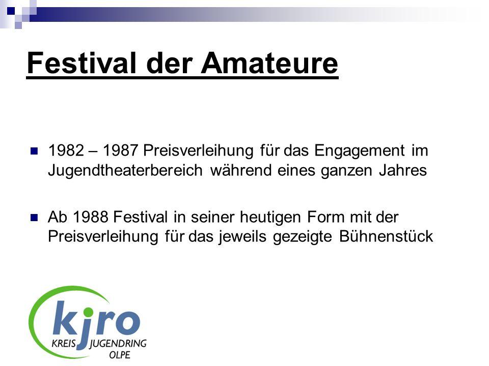 Festival der Amateure 1982 – 1987 Preisverleihung für das Engagement im Jugendtheaterbereich während eines ganzen Jahres.
