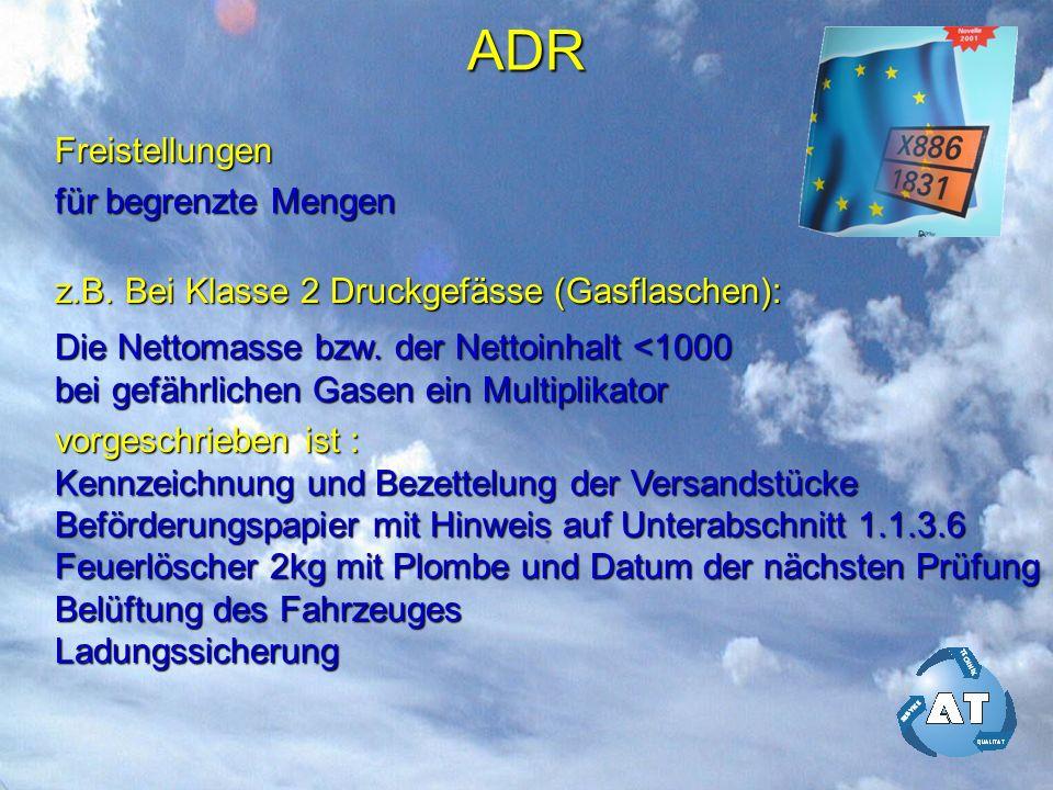 ADR Freistellungen für begrenzte Mengen