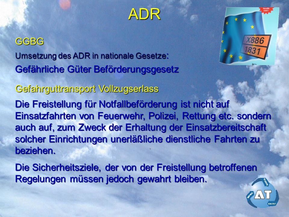 ADR GGBG Gefährliche Güter Beförderungsgesetz