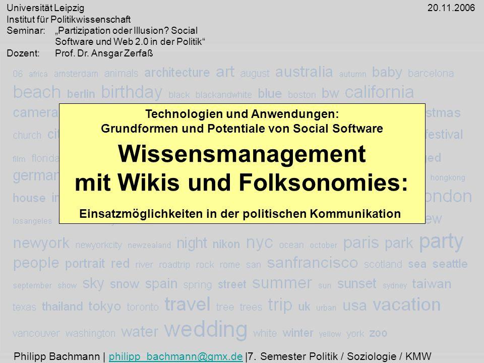 Wissensmanagement mit Wikis und Folksonomies: