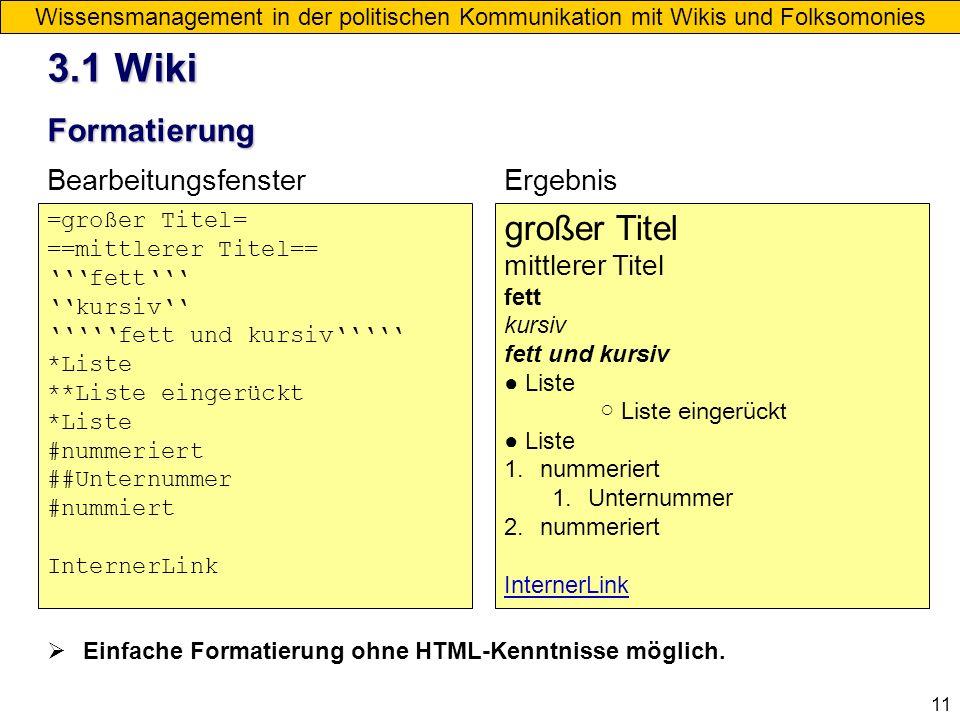 3.1 Wiki großer Titel Formatierung Bearbeitungsfenster Ergebnis