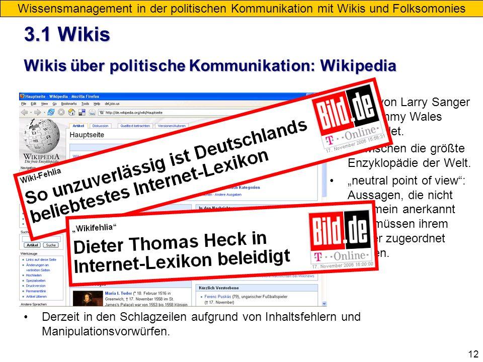 3.1 Wikis Wikis über politische Kommunikation: Wikipedia