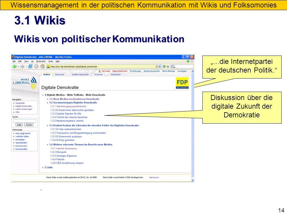 3.1 Wikis Wikis von politischer Kommunikation