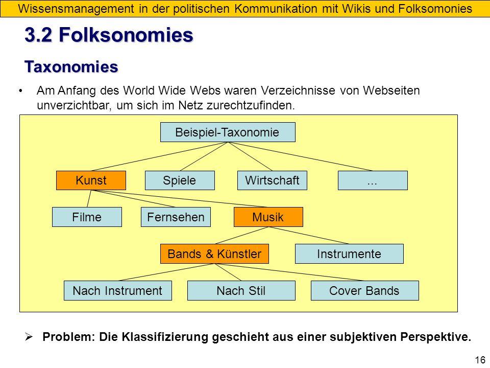 3.2 Folksonomies Taxonomies