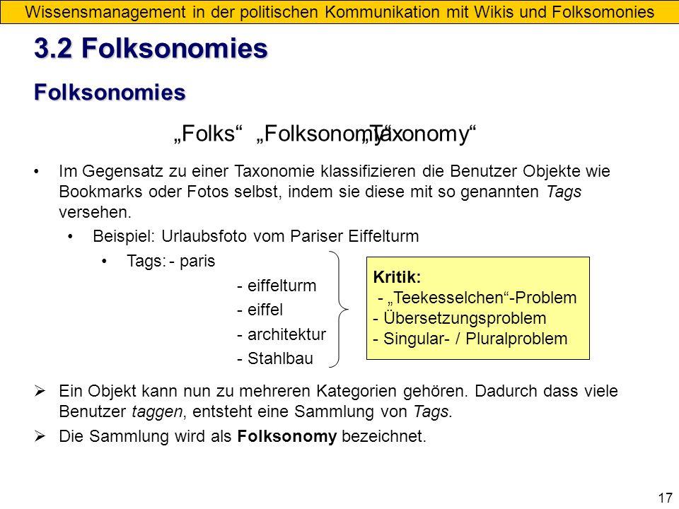 "3.2 Folksonomies Folksonomies ""Folks ""Folksonomy ""Taxonomy"